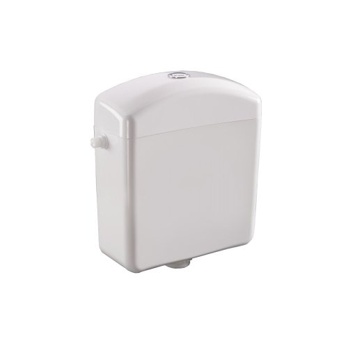 White Plastic Low-level Toilet Cistern  - with Chrome Plated Push Button