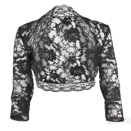 Ladies Black Lace ¾ Sleeve Bolero Size 6-30
