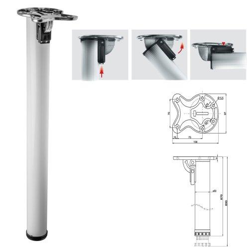 2x 870mm Folding White Breakfast Bar Worktop Support Table Leg 50mm Diameter