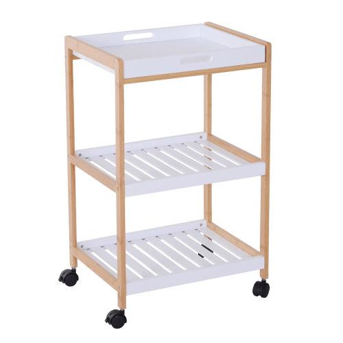 Homcom 3 Tier Mobile Kitchen Trolley Cart Bamboo Storage Shelves Rack Rolling Wheels White 46 X 35 X 74 5 Cm