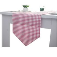Fresh Pink Plaid Table Runner Linen Fabric Table Cloth 70.5''