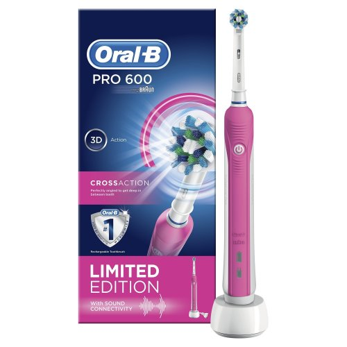 Oral-B Pro 600 CrossAction Electric Rechargeable Toothbrush Powered by Braun - Pink