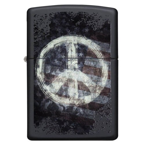 Peace On Flag Black Matte Zippo Lighter