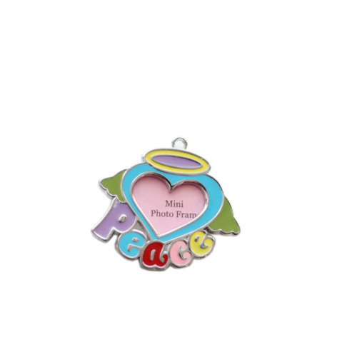 [PEACE] Colored Heart Decorated Mini Photo Frame Style Dog ID Tag Cat ID Tag