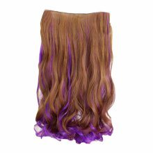 """One-piece Two Tone Clip-on Hairpieces 5 Clips 20"""" - Light Brown/Purple"""