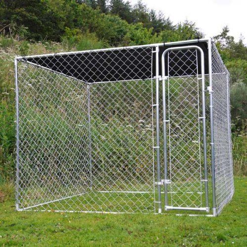 Dog Pen with Sunshade 7.5ft Galvanised Gate Keep Dog Puppy Safe High Sides
