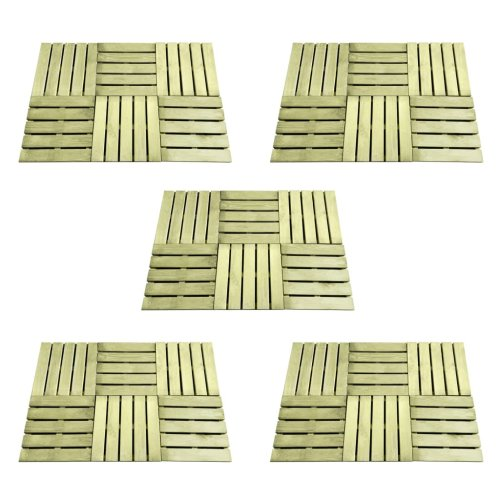vidaXL 30x Decking Tiles 50x50cm FSC Wood Green Patio Flooring Carpet Board