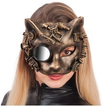 Carnival Toys 1694–steampunk Cat Mask, Gold Hard Plastic With