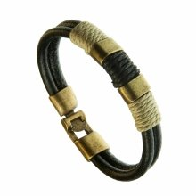 Urban Male Genuine Black Leather Double Strand Surfer Style Bracelet with Gold Buckles