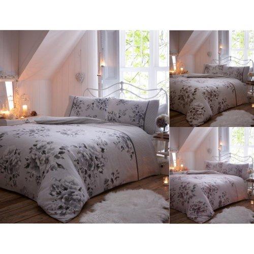 Willow Flower Brushed Cotton Flannelette Duvet Cover Floral Flannel Bedding Set