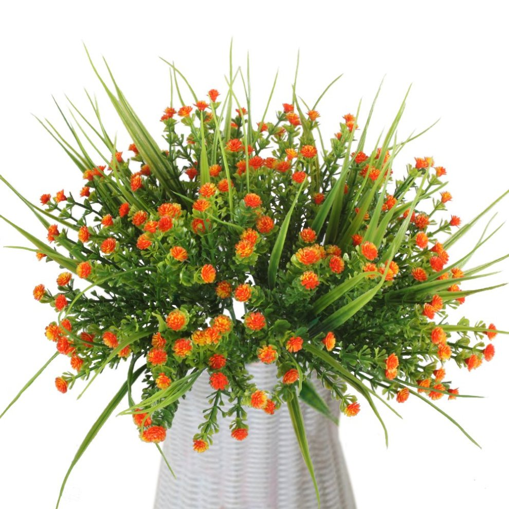 Mihounion 4 Bouquets Artificial Outdoor Plants Fake Plastic Flowers Real Touch Greenery For Wedding Kitchen Home Office Indoor Grave Table