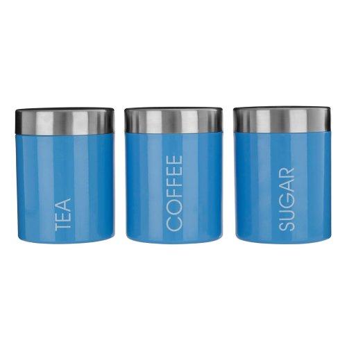 Set Of 3 Liberty Tea Coffee Sugar Enamel Canisters - Blue