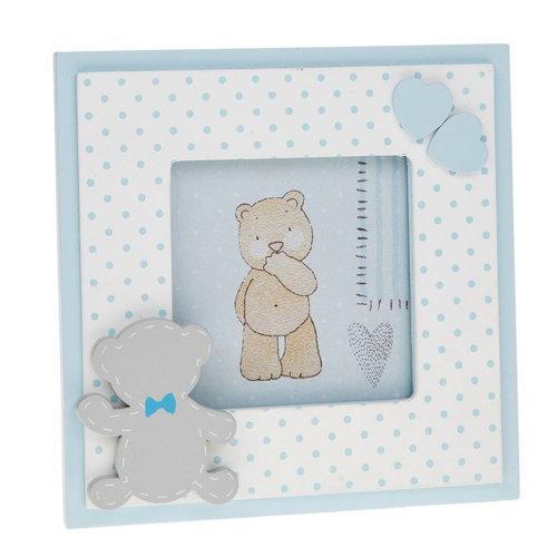 "New Baby 'Tiny Ted' Range -  Blue Square 3.5""x3.5"" Photo Frame"