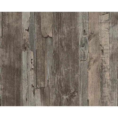 NEW AS CREATION DISTRESSED DRIFTWOOD WOOD PANEL FAUX EFFECT EMBOSSED WALLPAPER[DARK BROWN 954051]