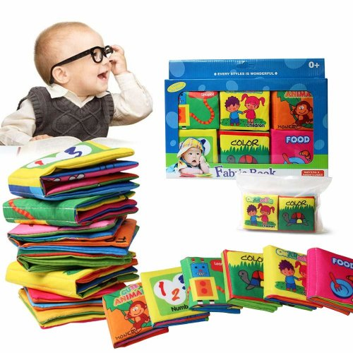 Baby Cognition Fabric Book(6 PCS)with Gitf box,Wholethings Intelligence Development Animal Cloth Book Learning & Activity Toys for Kids Baby