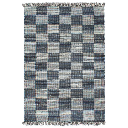 vidaXL Hand-woven Chindi Rug Denim 200x290cm Blue Home Room Floor Carpet Mat