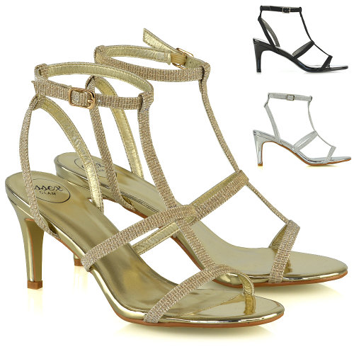 Womens Strappy Sandals Stiletto Low Mid Heel Ladies Bridal Party Shoes Size