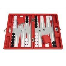 13-inch Premium Backgammon Set - Travel Size - Red Board