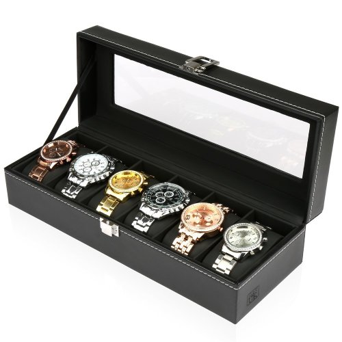 H&S® Glass Lid 6 Watch Jewellery Display Storage Box Tray Faux Leather Black