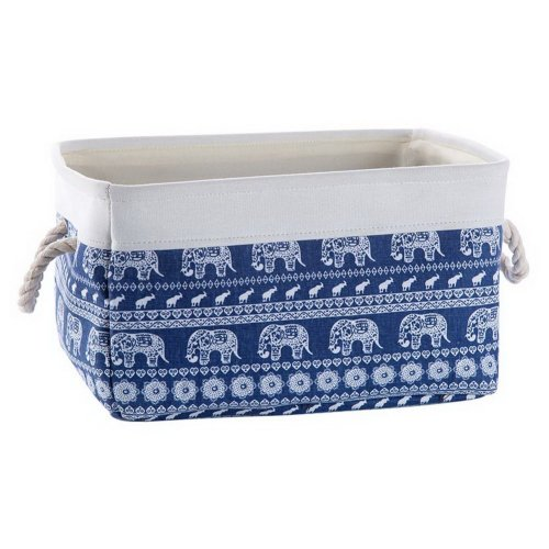 Fabric Portable Storage Basket Kitchen Snacks Toys Debris Storage Box, Elephants
