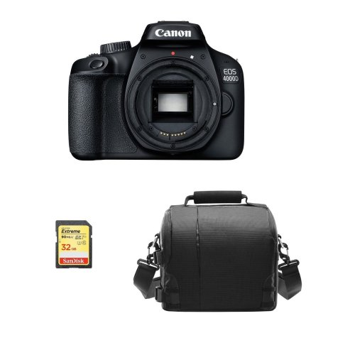 CANON EOS 4000D Body Black + 32GB SD card + camera Bag