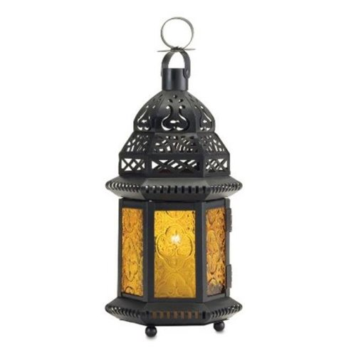 Eastwind Gifts 37437 Yellow Glass Candle Lantern