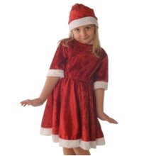 Santa Girls Velvet Dress 3-5 Year