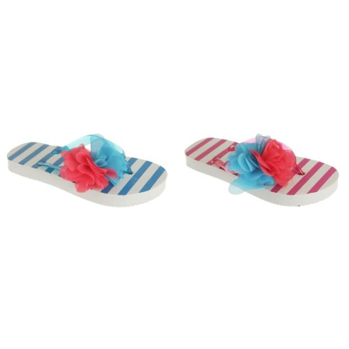 Childrens Girls Striped Flip-Flops With 3D Flower Detail