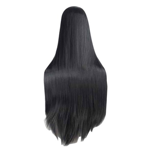 Center Parting Long Straight Cosplay Wig for Halloween Anime Fans [Black]