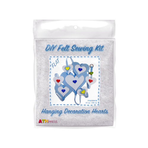 ATH Press - DIY Felt Sewing Kit - Hanging Decoration Hearts-Blue-Flat