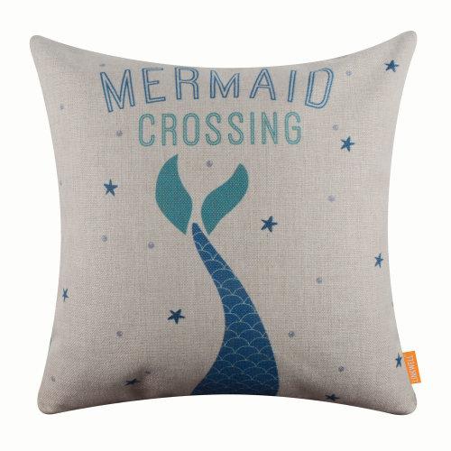 "18""x18"" Modern Mermaid Crossing Burlap Pillow Cover Cushion Cover"