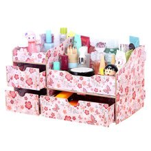 Fashion Wooden Make-up Storage Box Cosmetic Display Organizer Iris Japonica B