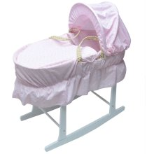 Broderie Anglaise Moses Basket With White Rocking Stand Pink