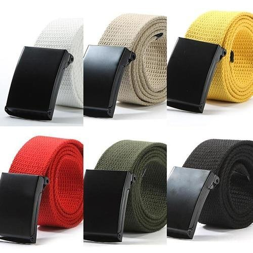 Unisex Military Casual Solid Color Plain Webbing Canvas Waist Belt Waistband
