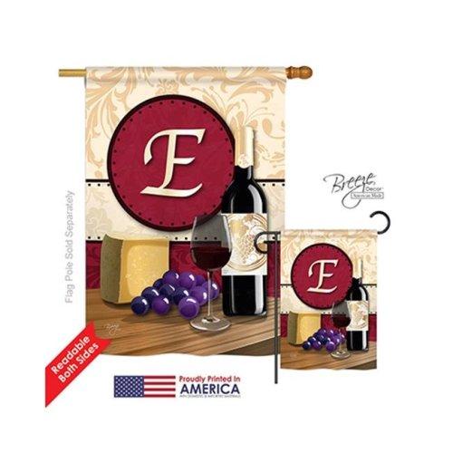 Breeze Decor 30213 Wine E Monogram 2-Sided Vertical Impression House Flag - 28 x 40 in.