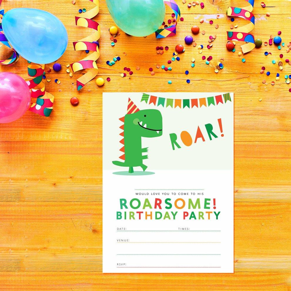 Dinosaur Party Invitations | Boys birthday Party Invitations | 10 pack |  T-Rex Roarsome Dinosaur invites | Ready to Write Party invitations