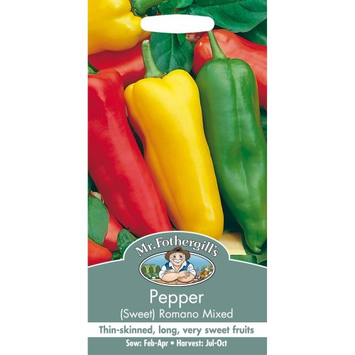 Mr Fothergills - Pictorial Packet - Vegetable - Pepper Sweet Romano Mixed - 50 Seeds
