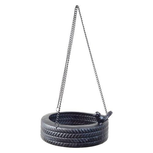 Hanging Black Metal Horizontal Tyre Swing Garden Bird Feeder