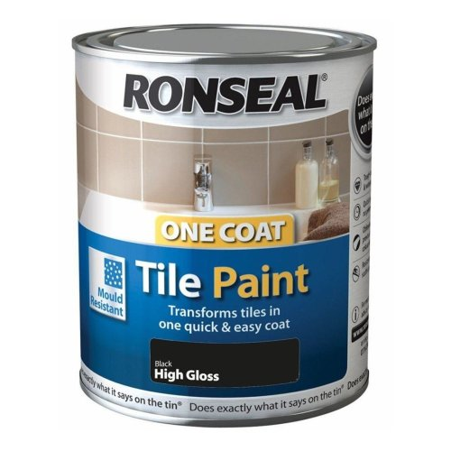 Ronseal One Coat Tile Paint 750ml - HIGH GLOSS Black