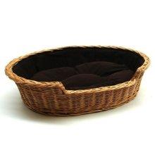 Small Willow Dog Cat Pet Wicker Basket Dark Cushion