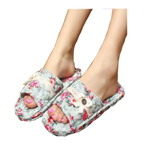 Silent Ladies Slippers/Elegant Flowers Pattern Style Cotton Slippers