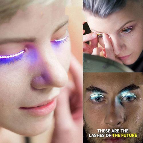 2 Pair LED Blue Color Luminous Eyelash Light Up False Eye Lash Party