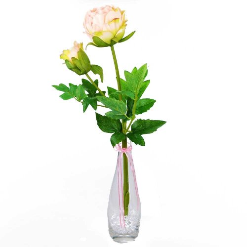 Angraves Ava Pink Peony Artificial Flower Arrangement With Glass Bud Vase (50cm)