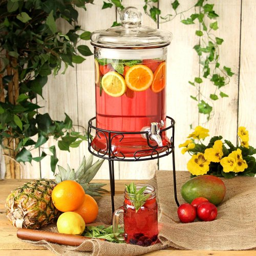 bar@drinkstuff Round Drink Dispenser with Stand 168oz/4.8ltr - Beverage Dispenser, Vintage Beverage Dispensers