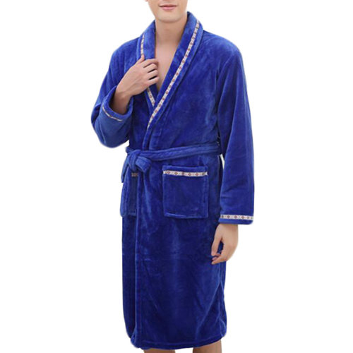 Casual Pajama Set Warm Sleepwear Men/Lovers Flannel Nightgown XX-large-A5