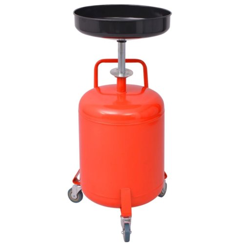 vidaXL Waste Oil Drainer 49.5L Steel Red Recycling Container Liquid Collector