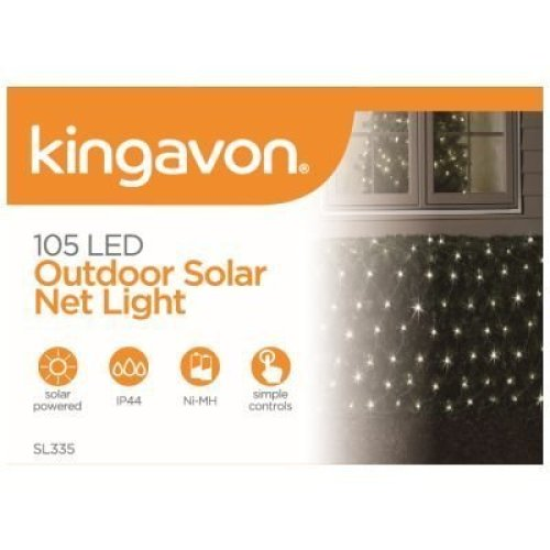 Kingavon 105 LED Outdoor Solar Net Light, Black - Lights Powered White Garden -  105 led outdoor net lights solar powered white garden fairy string