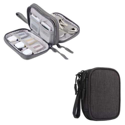 Double Layer Storage Bag U Disk Storage Package Headset Storage Box-Black