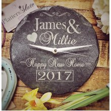 Personalised Round Slate New Home Clock - 22cm