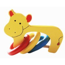 Creative Baby Musical Instruments Cartoon Rattles Wooden Hand Bell Baby Toys